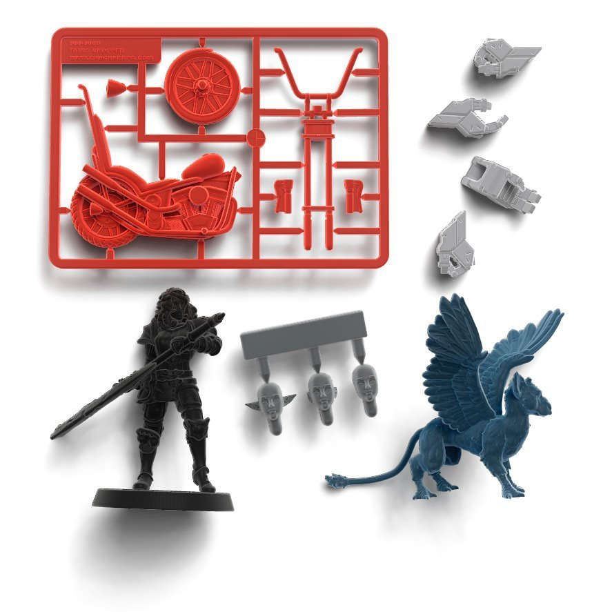 different 3d printing projects: warrior miniature, vehicle sprue, creature, bits