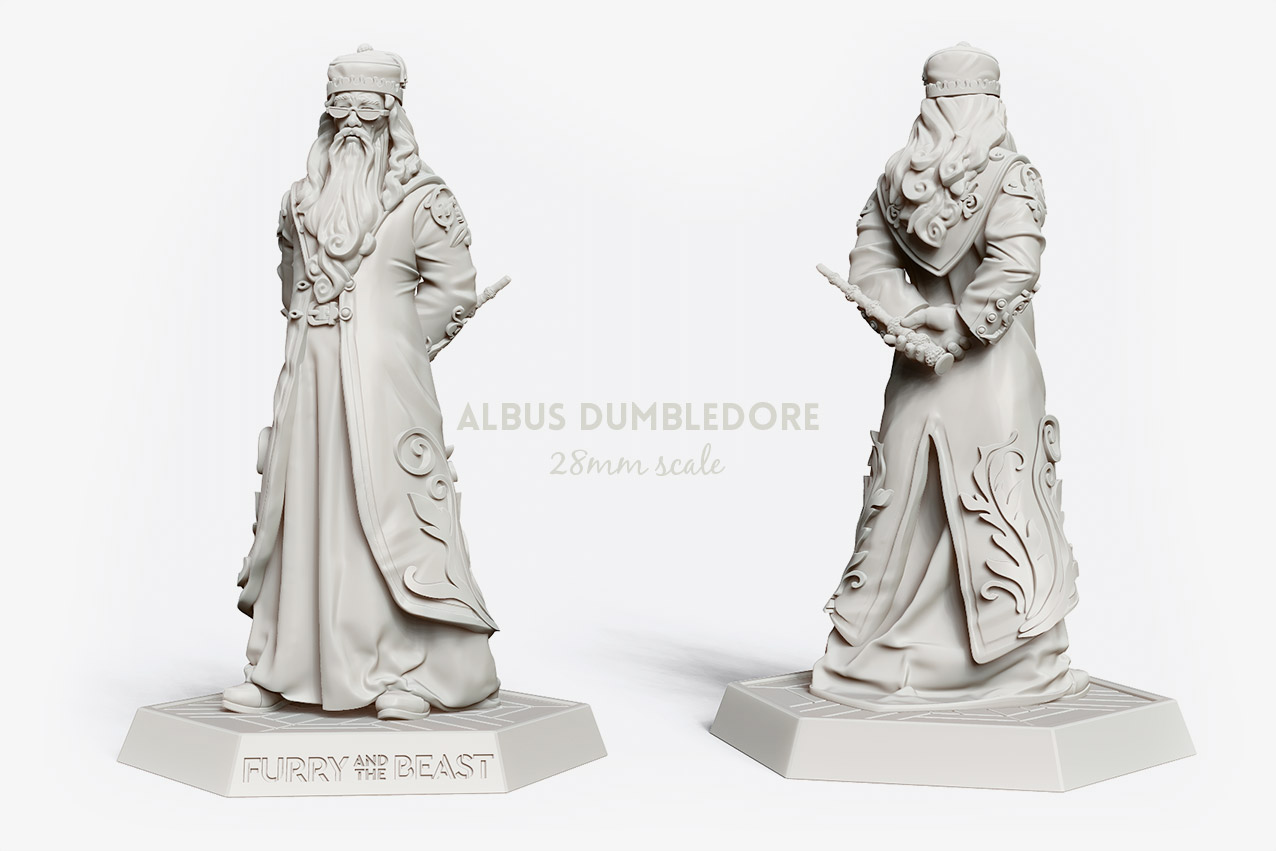 albus dumbledore 28mm miniature. Richard Harris portrait with Elder wand