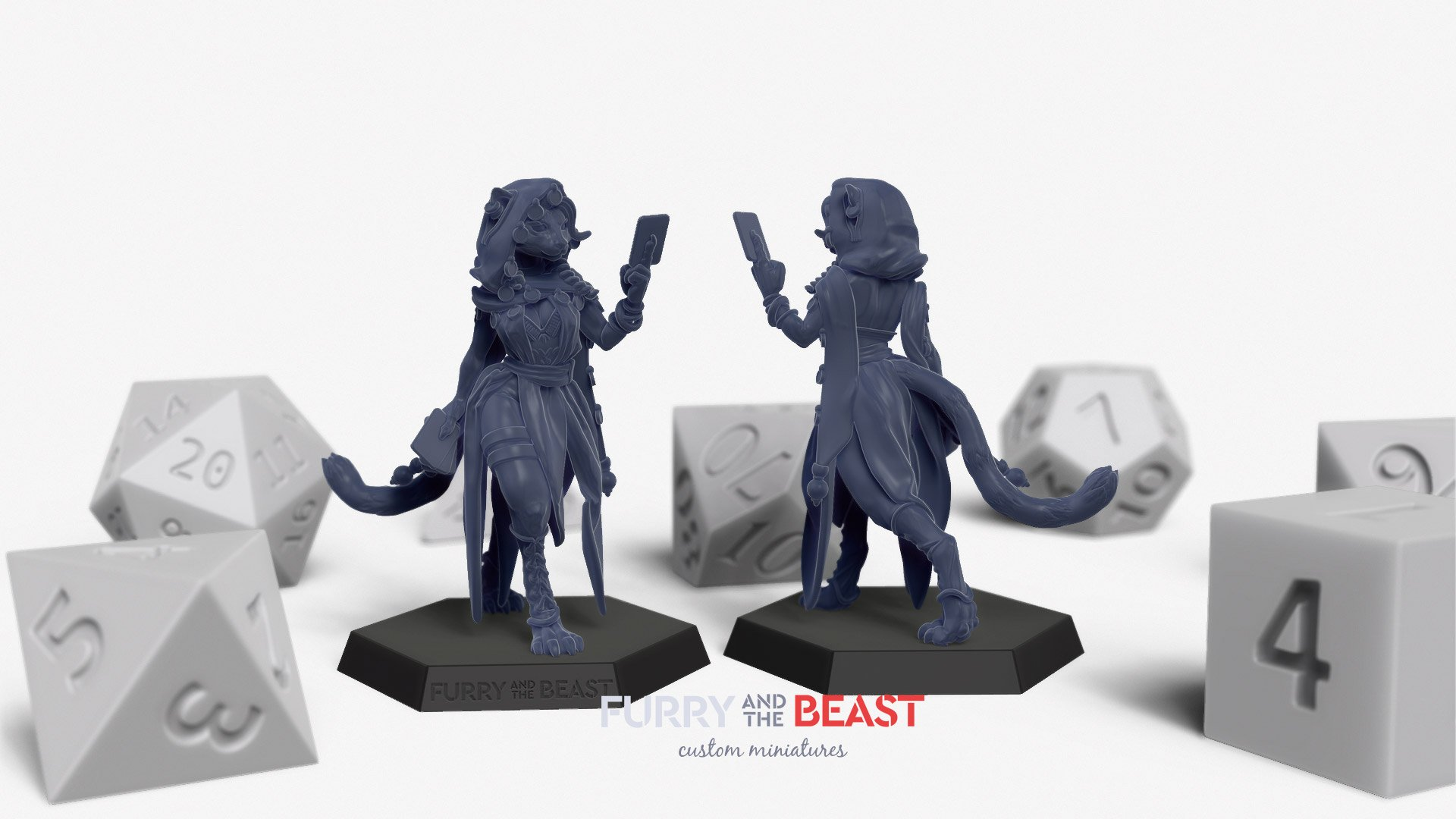 emale tabaxi cardslinger miniature front and back views