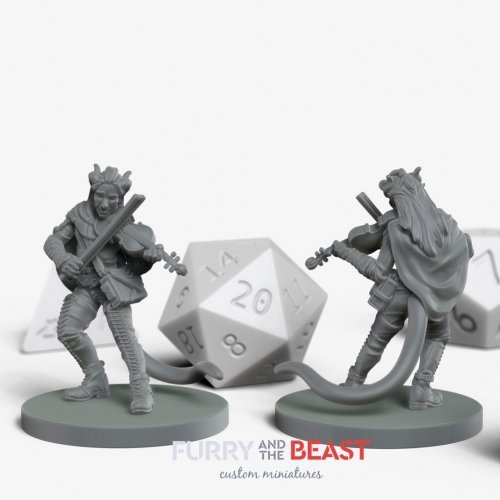 male tiefling bard custom miniature for dungeons and dragons player
